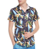 Summer Mens Hawaiian Cotton Shirt Male Casual 3D Floral Chain Printed Beach Shirts Camisa Slim Short