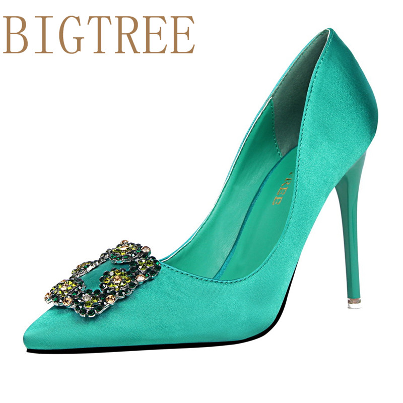 BIGTREE Spring Autumn fashion Sexy women pumps Shallow mouth Pointed Silk Rhinestone buckle 10 CM Fine high heels shoes bigtree spring autumn silk women pumps shallow mouth pointed shiny rhinestones 10 5 cm fine high heels shoes