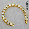 High quality 24K gold plated  FRANCO 8mm CZ diamond Cuban Link Chain HipHop bling Bracelet bangles men jewelry bijouterie 2014