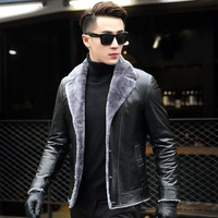 Ptslan Male Leather Leather Sheep Skin Jacket Short Fur Men S Leather Coat And Wool In