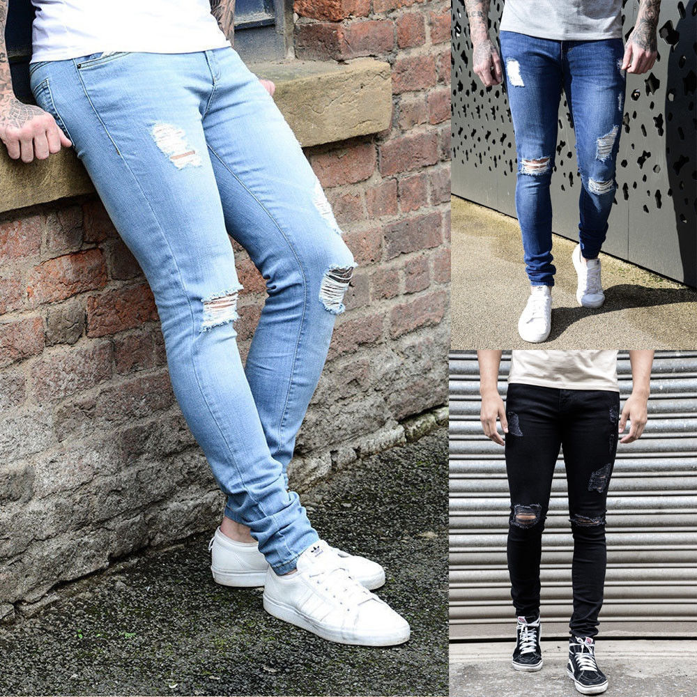 3590f7239cf Men Light Blue Ripped Distressed Straight Jeans Distroyed Slim Fit Denim  Hole Pencil Pants Blue