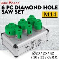 Drillforce 6 шт Алмазный отверстие Набор пил 20/25/42/50/55/68 мм M14 прочный Carborundum керамики M14 нить керна