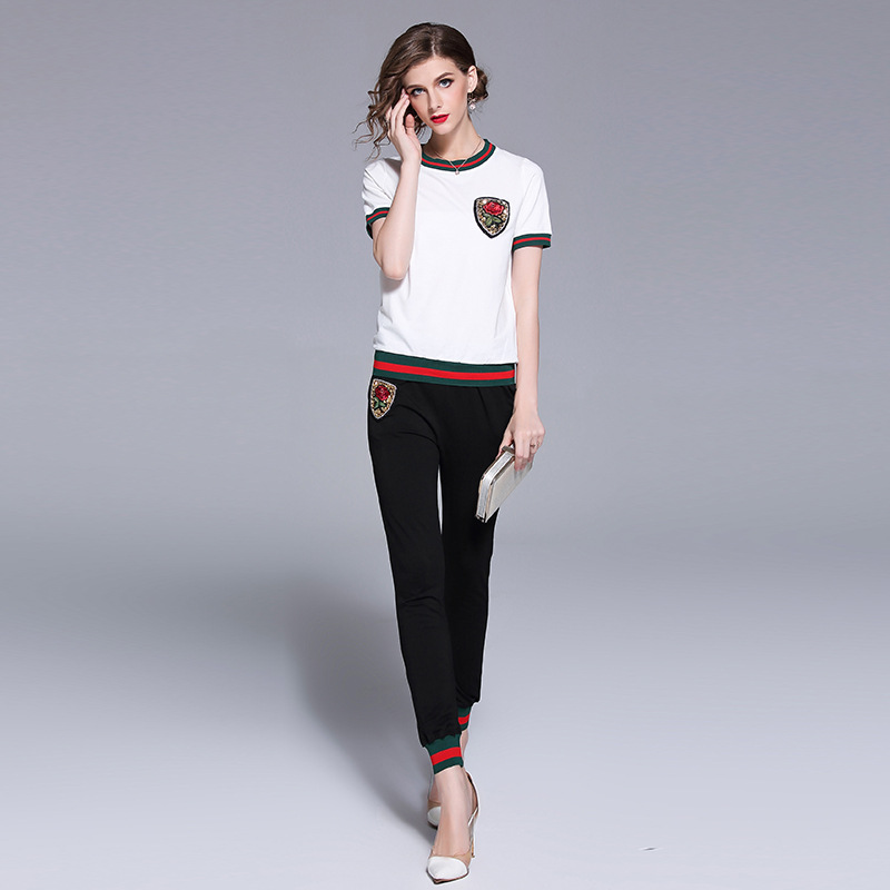 New 2018 summer leisure suit Fashion women T shirts+casual pants two piece set comfortable casual suits S533