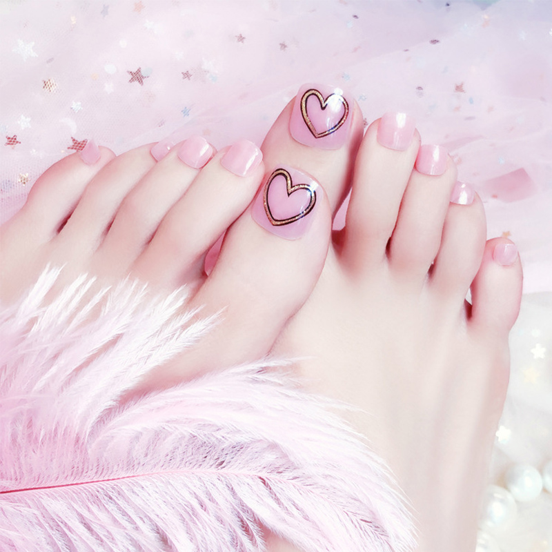 24pcs/Set Cute Heart Pattern Toes False Nails Summer Beach Seaside Pre-design Pink Foot Nail Art Tips Fake nails with Glue