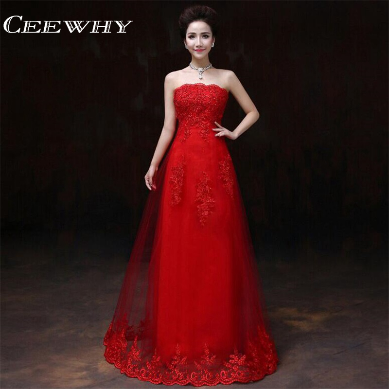 Ceewhy Chinese Style Strapless Lace Up Embroidery Vestido
