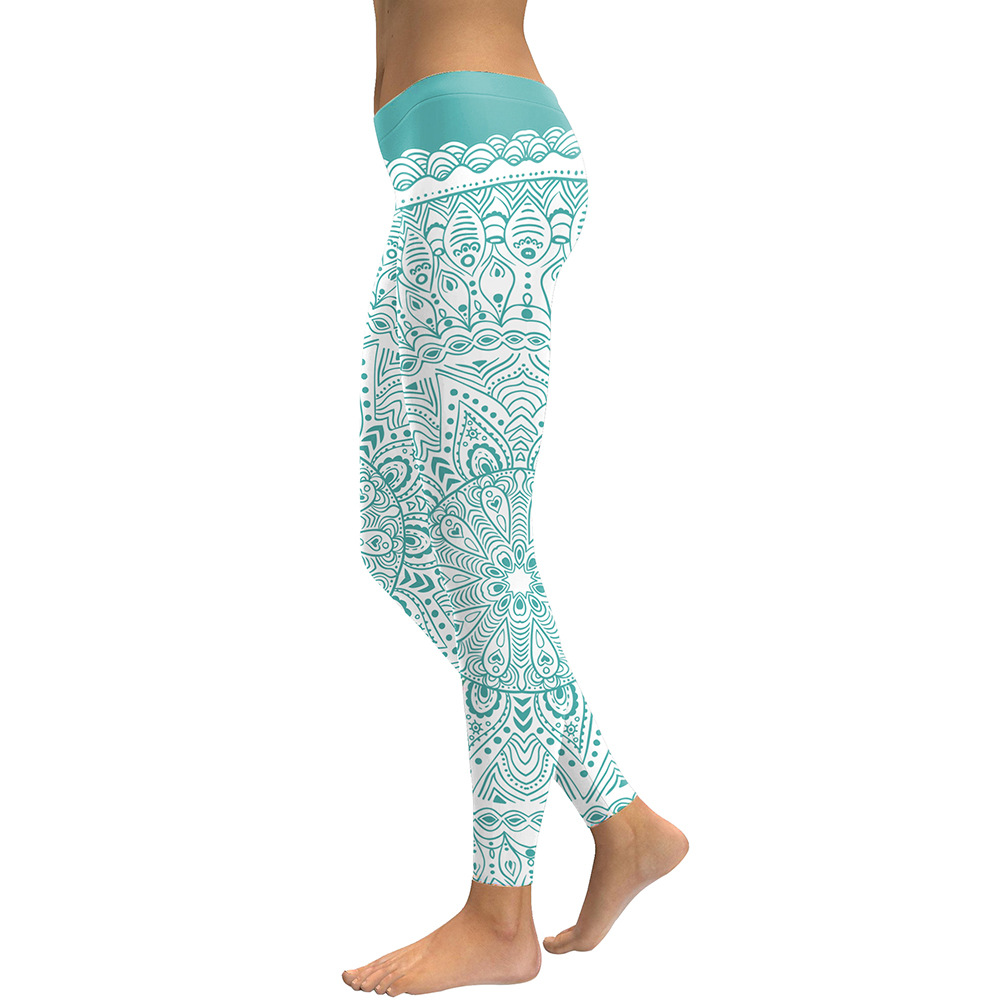 fe2d7c7734 Womens Yoga Leggings - 3D printed Mint Green Mandala