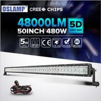 Oslamp 50 polegadas 480 W Levou Chips de Luz Em Linha Reta Bar Spot + Flood Combo Beam Offroad 4x4 Para Jeep UTV ATV Telhado Levou Condução luz