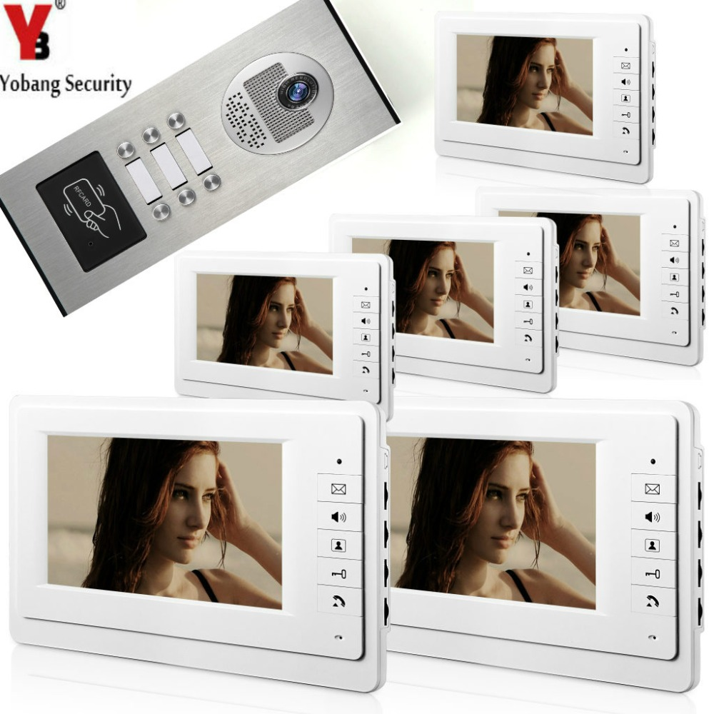 YobangSecurity 7Inch Wired Video Door Phone Doorbell Home Entry Intercom System With RFID Access Door IR Camera For 6 Units yobangsecurity wired 7 inch lcd video door bell phone intercom rfid card access control home gate entry system with door lock
