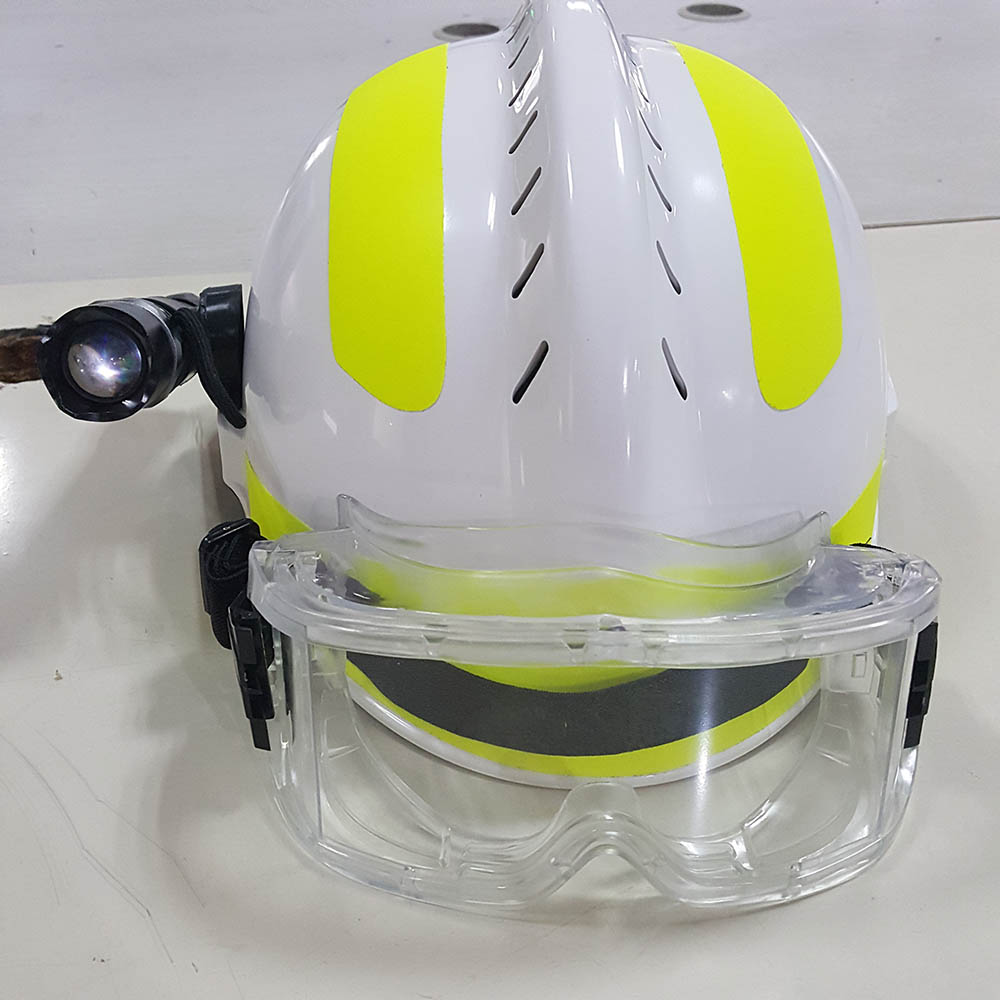 F2 Rescue helmet Safety helmet + Safety goggles + headlamp (Battery not included) First aid helmet Rescue fire helmet