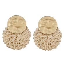 Fashion Punk Handmade Vine Braid  Wooden Straw Weave Rattan Earring Big Round Earrings For Women Jewelry