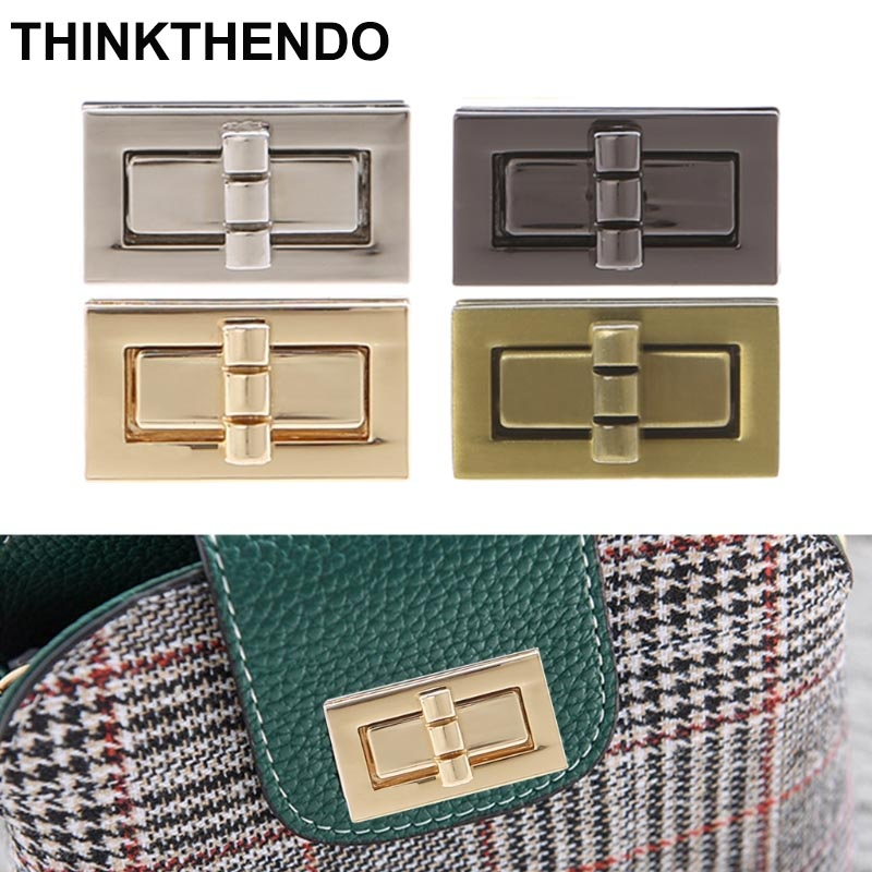 Rectangle Shape Clasp Turn Lock Twist Locks DIY Leather Handbag Bag Hardware