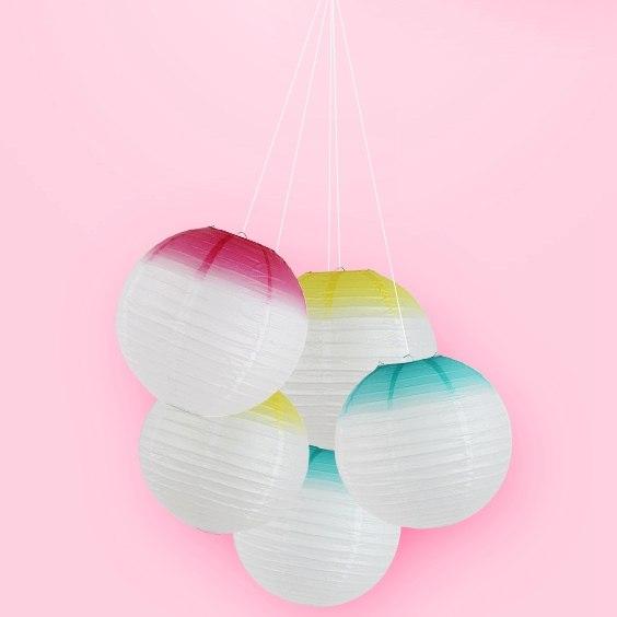 (Rosa, Blau, Gelb) Pastell Ombre Papier Laternen Papier Lampenschirm Für  Hochzeit Bithday Duschen Aniverssary Party Zimmer Raum Dekor