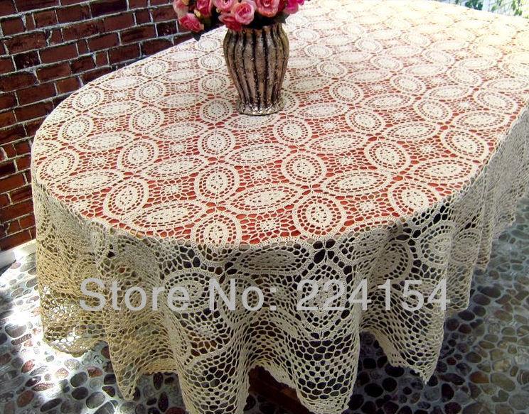 Online Shop 160x220 Cm Vintage Look Handmade Crochet Tablecloth