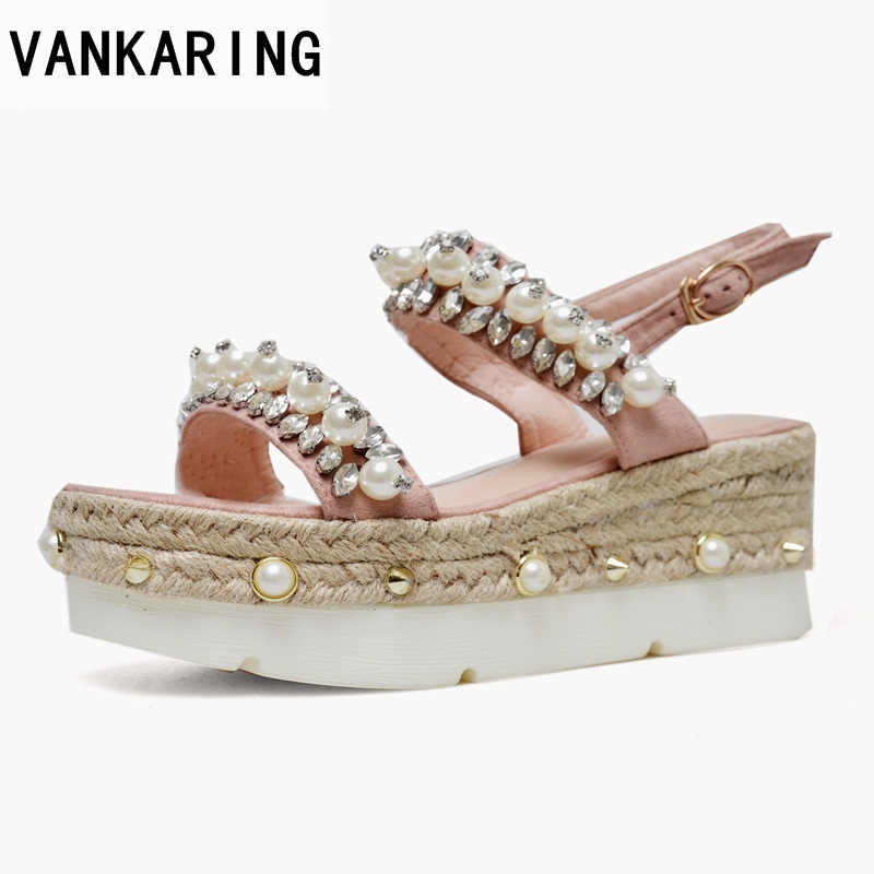 VANKARING new genuine leather women sandals sexy wedges high heels platform summer shoes woman dress party wedding shoes sandals woman fashion high heels sandals women genuine leather buckle summer shoes brand new wedges casual platform sandal gold silver