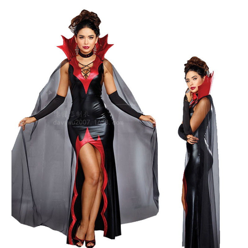 2018 New Women Slim Vampirte Cospaly Costume for Halloween Gothic The Queen Vampire Role Play Clothing Female Vampire Outfit