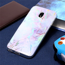 Soft Plating Phone Cases For Samsung Galaxy J3 2017 J330 Case Shiny Laser Marble Cover TPU Capa Coque