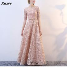 Xnxee V-neck Half Sleeves Flowers A-line Vintage Elegant Lace Up Party Frocks Dresses Floor Length