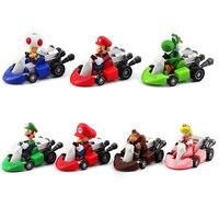10 unids/lote Super Mario Bros. Mario Luigi Yoshi Toad Donkey Kong Retracción Kart Racer Car Princesa Figuras de Acción de Juguete para Niños de Regalo