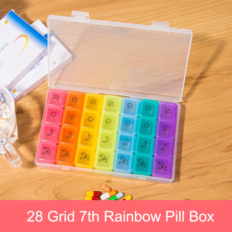 New Pill Storage Box Medicine Case 7 Day Organizer 28 Compartments 4 Times Container DC88 For Healthy Care