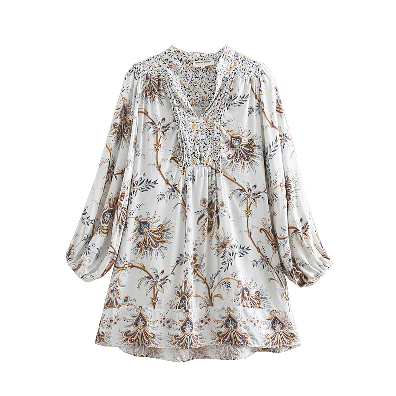 2019 Women Sweet Position Patchwork Floral Print Casual Blouse Shirt Women V Neck Pleats Blusas Chic Holiday Chemise Tops Ls3252 Women's Clothing