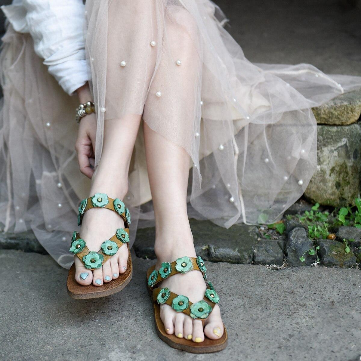 Artmu Original Flower Flip-flops Women Outside Wear Rivets Flowers Soft Bottom Genuine Leather Slippers New Beach Shoes Flat