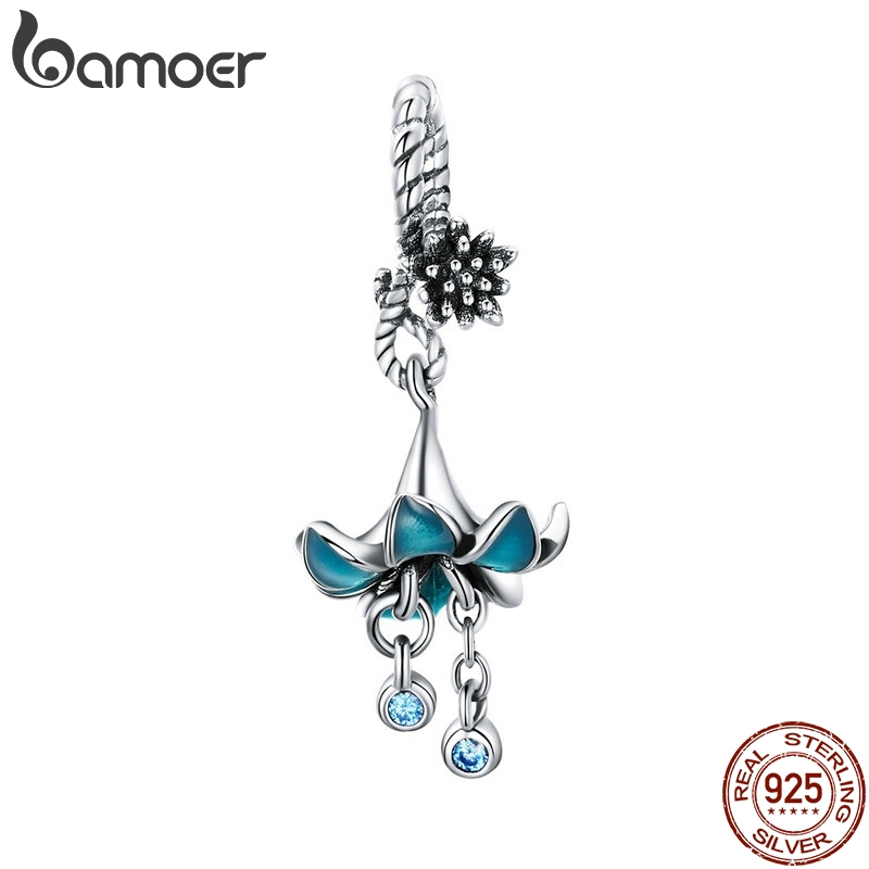 BAMOER Authentic 925 Sterling Silver Blue Enamel Flower Pendant Charms fit Silver Bracelets & Bangles 925 Silver Jewelry BSC034BAMOER Authentic 925 Sterling Silver Blue Enamel Flower Pendant Charms fit Silver Bracelets & Bangles 925 Silver Jewelry BSC034
