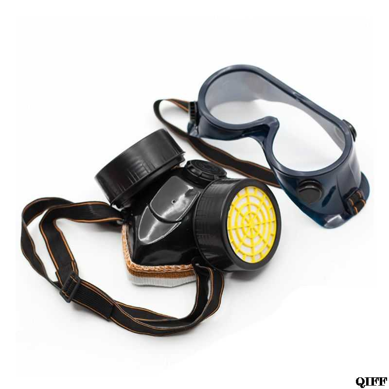 Drop Ship&Wholesale Dual Pot Industrial Gas Mask Respirator Anti Dust Filtter Goggles For Spray Chemical June 11