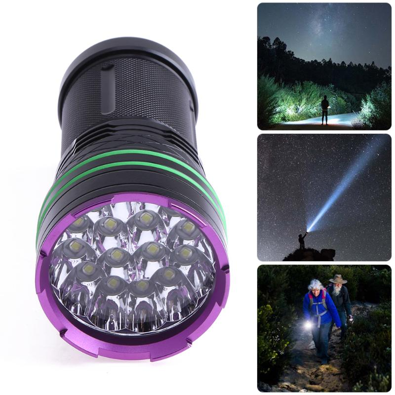 LED Flashlight 16LED Torch Lamp Light For Hunting Camping Waterproof USB Rechargeable Flashlight Use 4X 18650 Battery led hunting flashlight uniquefire green red white light uf 1503 xpe torch alumium metal for outdoor camping free shipping