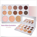 New Arrival 14 Colors Gilter Cosmetics Makeup Eye Shadow Palette Matte & Highlighter Glamorous Smokey Shimmer Eye Shadow