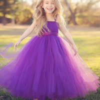 New Flower Girls Dresses For Weddings Lace Ball Gown Sleeveless Long Dresses First Communion Pageant Gowns Lovely Girls Dresses