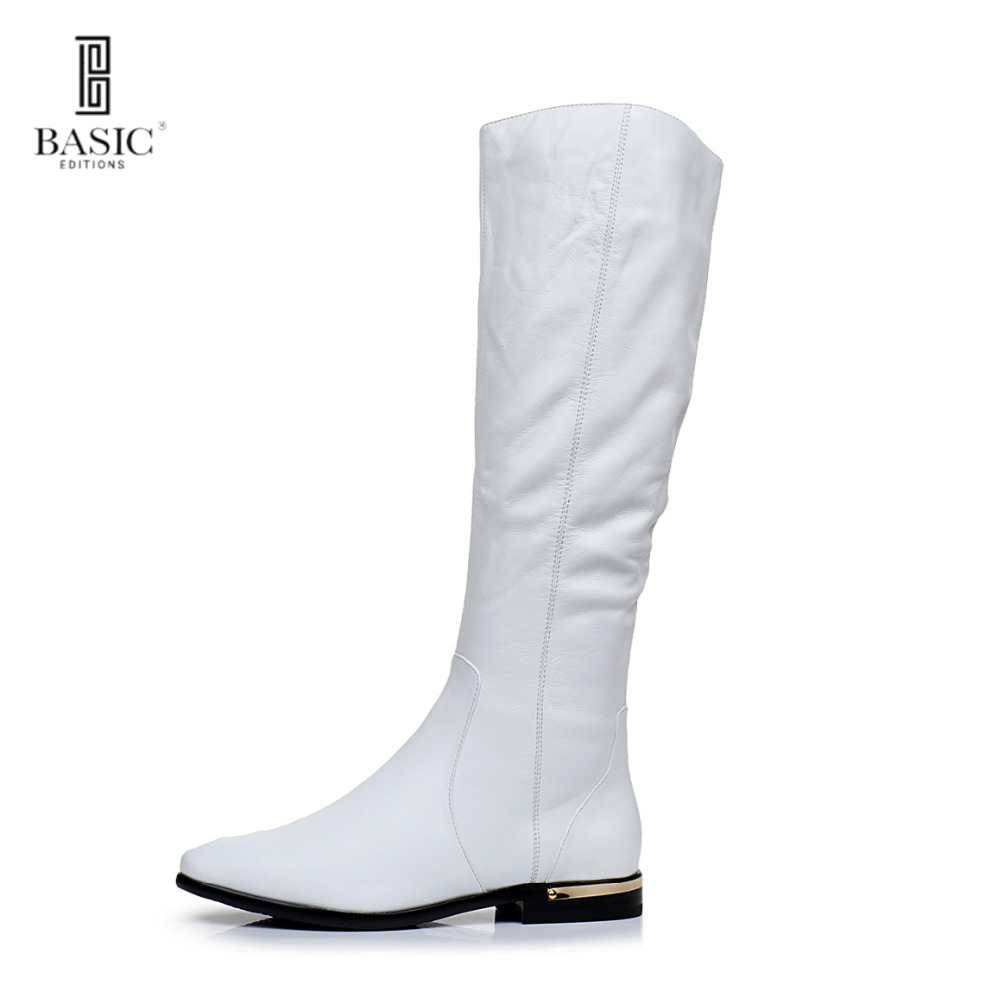 BASIC 2016 Winter White Genuine Leather Round Toe Low Heel Zip Up Fashion Boots - 4716B-05-KME