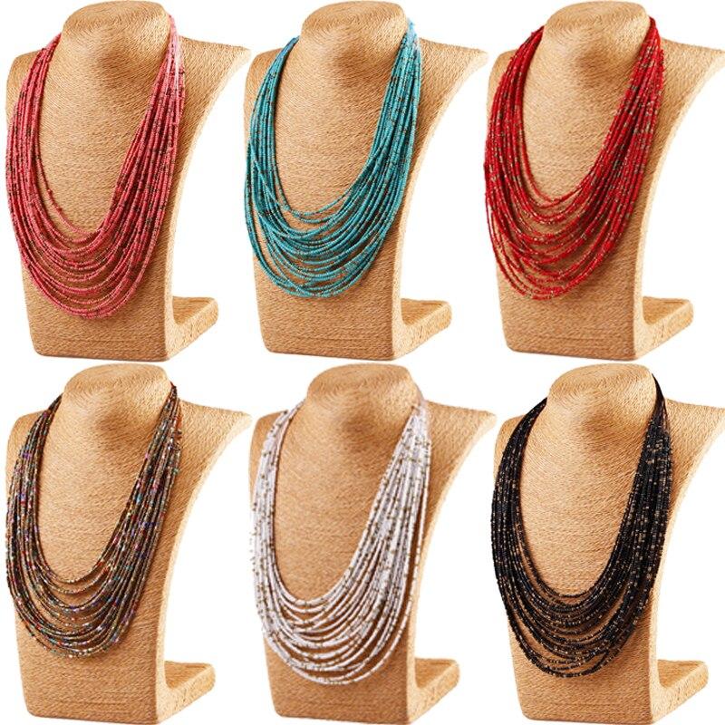 1 шт., длинное ожерелье в богемном стиле, бусы ручной работы, цепочка, винтажное этническое ожерелье, Женские аксессуары, украшения для лучше...