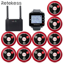 Wireless Calling System T128 Watch Receiver + 10 pcs T117 Calling buttons + Wireless Repeater Transmitter Restaurant Pager