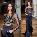 Transparente frisada Lace manga comprida vestidos de noite vestidos de saia vestidos 2015 Vestido Formal