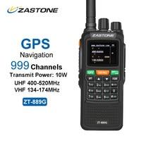 ZASTONE 889G GPS Walkie Talkie 10W 999CH 3000mAh UHF 400 520 VHF134 174MHz Ham CB Radio