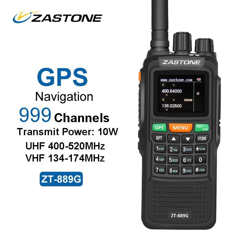 ZASTONE ZT 889G GPS Walkie Talkie 10W 999CH 3000mAh UHF 400 520 VHF134 174MHz Ham CB
