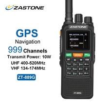 Zastone ZT-889G GPS Walkie Talkie 10 Вт 999CH 3000 мАч UHF 400-520/VHF134-174MHz Хэм CB радио ВЧ трансивер для изучения Охота