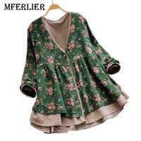 Mferlier Mori Girl Autumn Flroal Print Vintage Blouse Lace Patchwork V Neck Long Sleeve Cotton Linen