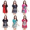 2017 summer spring plus size clothing o-neck elegant short-sleeve dress loose casual dresses big 4xl 3XL 5XL print