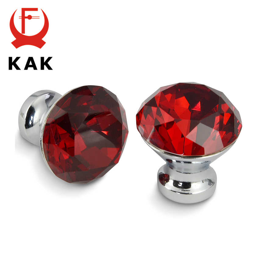 KAK 30mm Küche Schrank Griffe Diamant Form Design Kristall Glas Knöpfe Schrank Zieht Schublade Knöpfe Möbel Griff Hardware