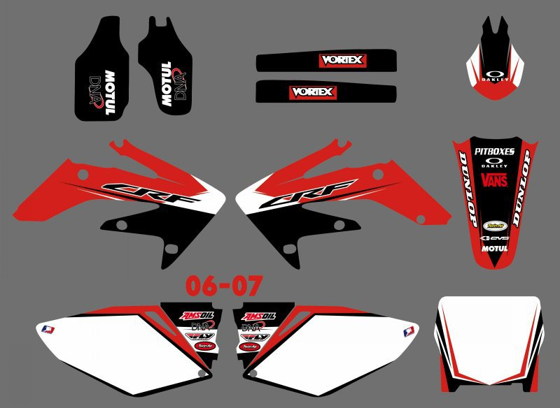 NICECNC 1set Motorcycle Team Graphic Background Stickers Decal Kit For Honda CRF250R CRF250 CRF 250R 250 CRF 250 R 2006 2007 new hot 2014 2015 two sides new aluminum radiator for honda crf 250 r crf250r crf250 brand motorcycle both of side of oem parts