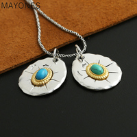 2019 Couple Pendant 100% 925 Sterling Silver Jewelry Men Women Feather Eagle Turquoise fashion Necklace Pendant