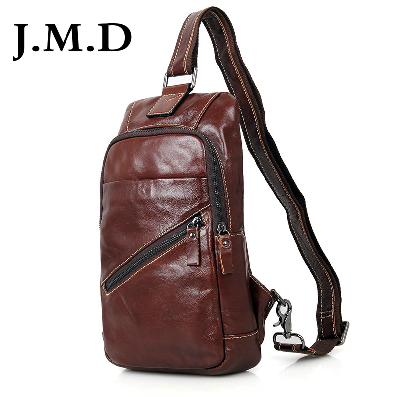 J M D Real Cow Leather Chest Bags Men s Sling Bag For Boy s Satchels