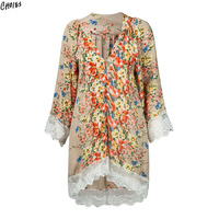 Beige Floral Print Lace Trim Kimono 2017 Women New Long Flare Sleeve Casual Loose Summer Beach