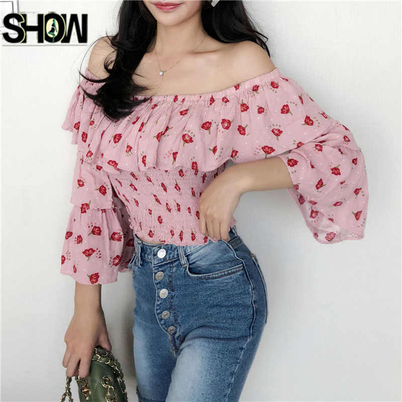 354eb71c345 Cute Sweet Crop Top 2019 Design Sexy strapless Short Tops Blouse Shirt Low  Cut Ruffled Pink Dot Floral Open Off Shoulder Top 187