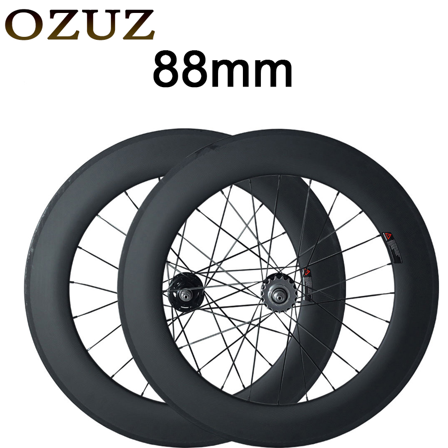 700C High-end 88mm Clincher Track Fixed Gear Single Speed Carbon Track Wheels Road Bicycles Carbon Wheels Bike Wheel Wheelset track fixed gear front 38mm rear 50mm depth clincher single speed carbon track wheels road bike bicycle wheel 3k matte or glossy