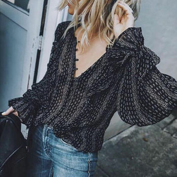 Women Casual V Neck Boho Hippie Striped Long Sleeve Elastic Flare Sleeve Loose T-shirt Tops