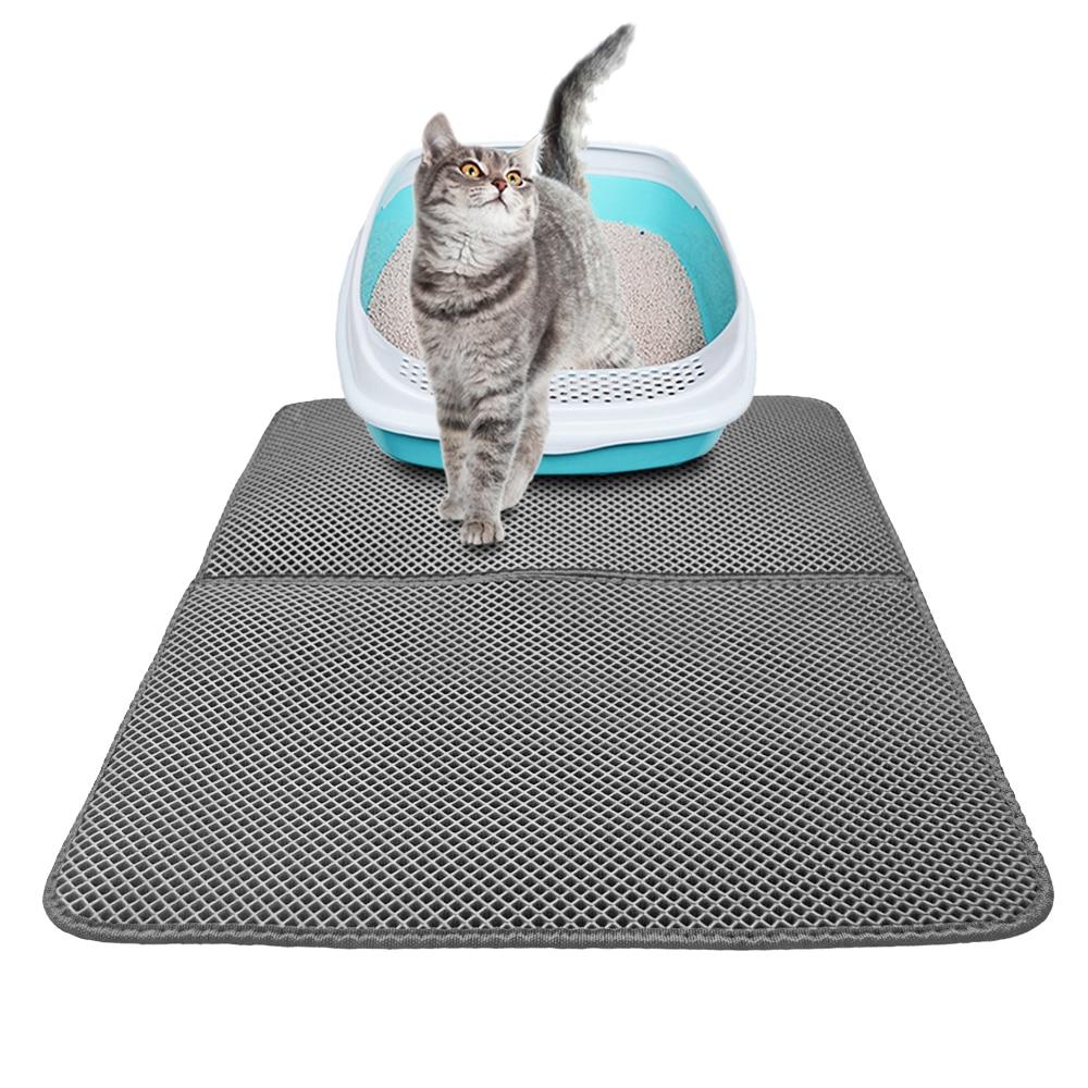 Newest Grey Cat Litter Mat Double Layer Cats Litter Trapper Foldable Pad Protect Floor Carpet Light Weight Eva Pet Dog Mats