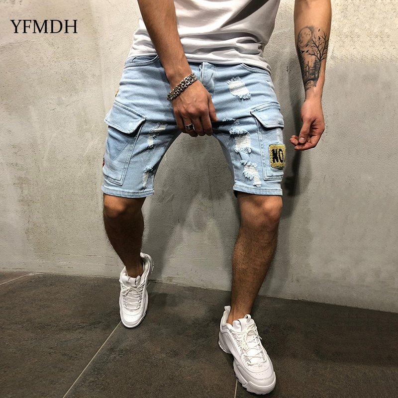 2019 New Summer Hiphop Men Stretchy Ripped Denim Pants Hole Jean Pant Cotton   Shorts   Mens Fashion Leisure Elastic Denim Trousers