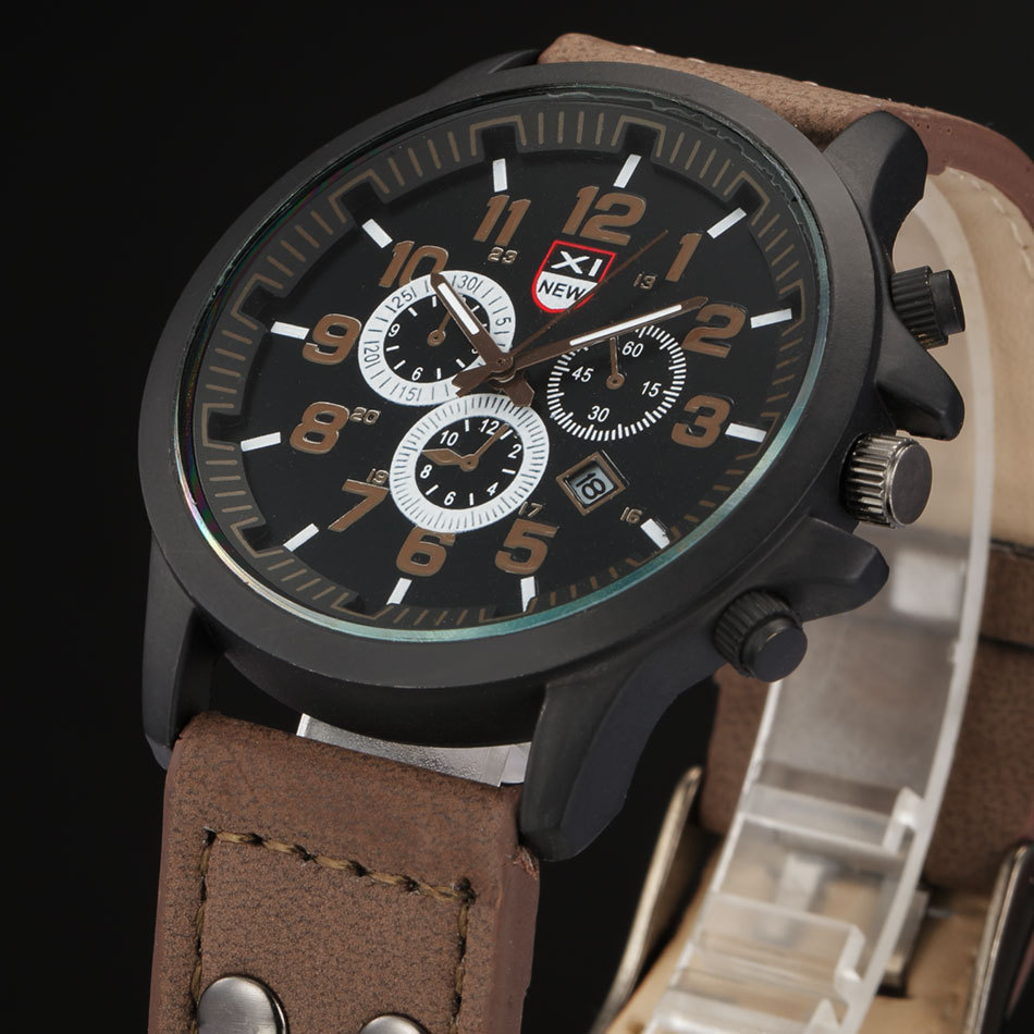 Sport Men Watches Quartz PU Leather Clock Coffee Black Wristwatch Male
